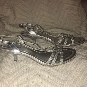 Silver Unlisted Heels Size 8